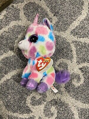 Stuffed Squirrel Animals, Retired Ty Beanie Boos Plush Wishful The Unicorn Colorful Spotted 6 New W Tags Ebay