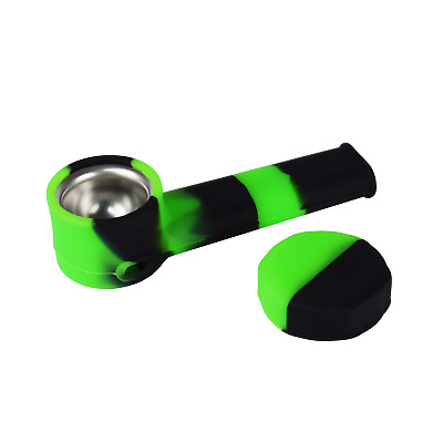 6pcs 3.4/'/' Mini Silicone Smoking Hand Pipe with Metal Bowl /& Cap Lid Pocket Pipe