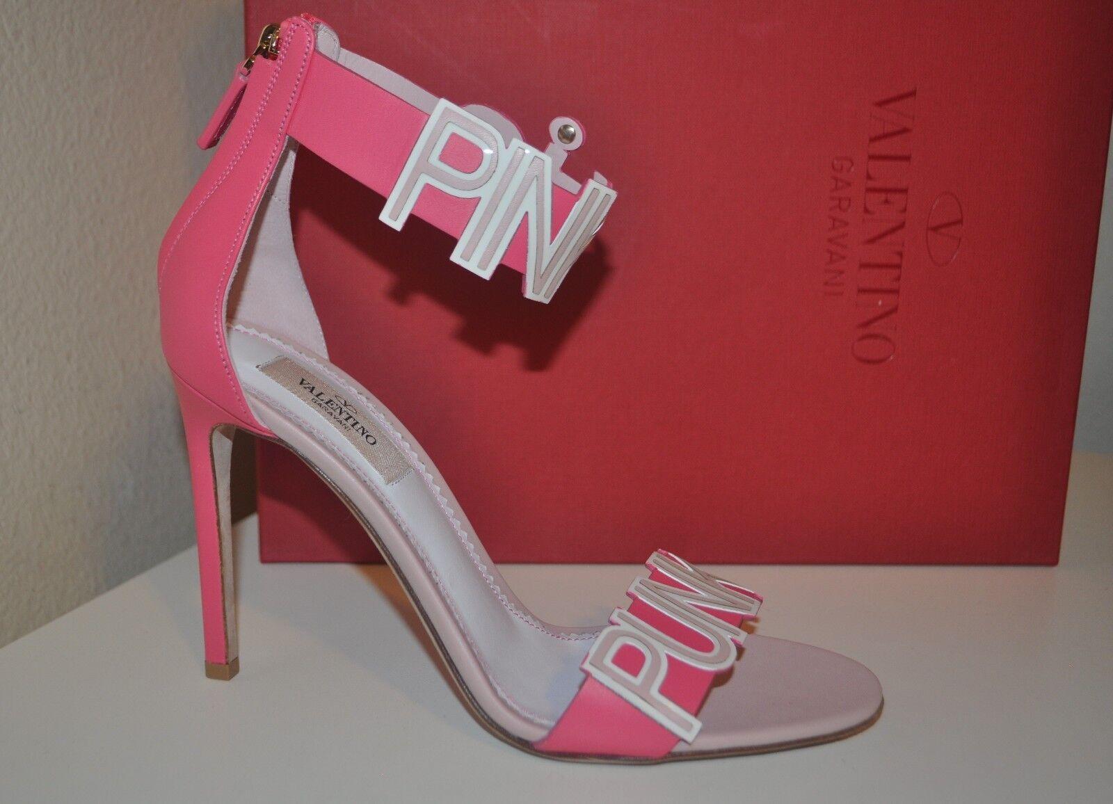 NIB NIB NIB  1,275+ VALENTINO GARAVANI Pink Punk Ankle Strap Heel Sandal shoes 37.5 - 7 7441a6