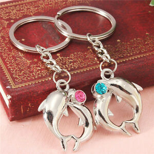 1Czair-Hot-Metal-Dolphin-Key-Ring-Keyfob-Couples-Romantic-Keychain-Lover-Gift-JH