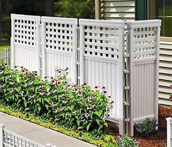 Outdoor Privacy Fence Patio Screen Yard Enclosure Resin Divider White 4  Panels | EBay