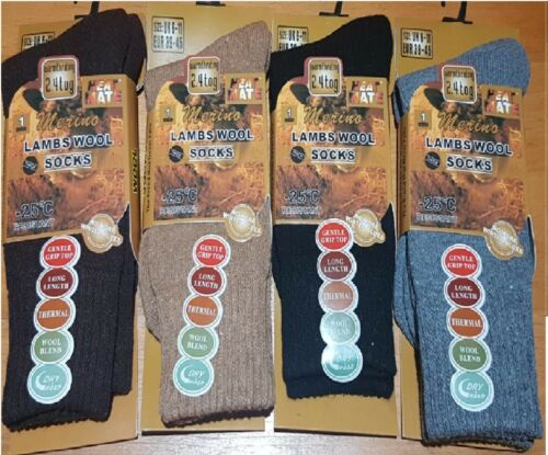 Unisexe Long épais Chaud Thermique Merino Laine d/'Agneau Mélange Chaussettes Couleurs Lot UK 6-11