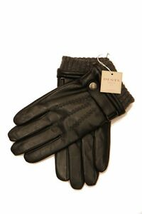 Dents: Black Lined Hairsheep Gloves with Strap and Roller  Black Lined Hairsheep