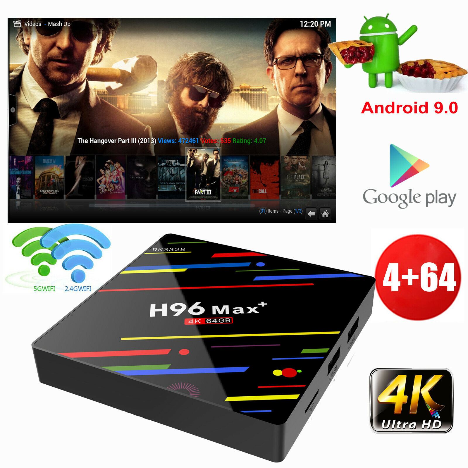 NEW H96MAX+ 4+64G Android 9.0 Quad Core 4K Smart TV BOX DUAL WIFI BT 4.0 USB 3.0 Featured