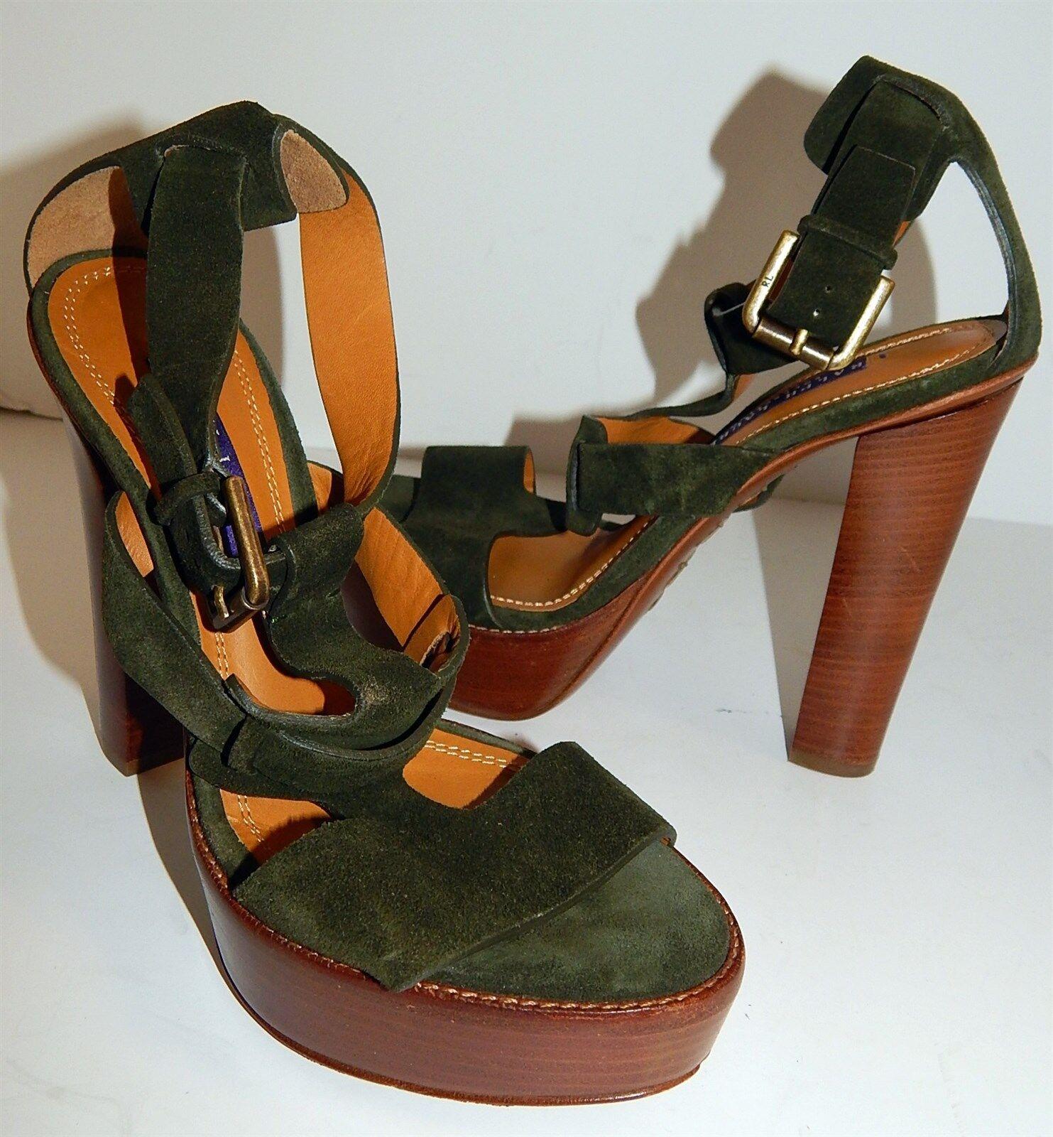 Ralph Lauren Sherise Deep Green Suede Leather Platform Heels Heels Heels 36 5.5 B  695rt 025f92