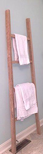 "Whitewashed Rustic Decorative Wood Ladder Blanket Ladder Décor 58"" H Towel"
