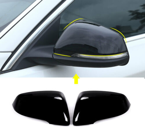 Black ABS Rearview Side Mirror Cover Trim 2pcs for BMW X1 F48 2016 2017
