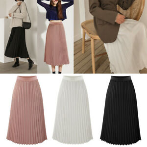 Women-Elastic-High-Waist-Pleated-Skirt-Swing-Casual-Summer-A-Line-Dresses-S-2XL