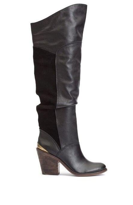 Lucky Lucky Lucky Brand Edina Black Leather Suede Over The Knee Boots 6.5 f3be30