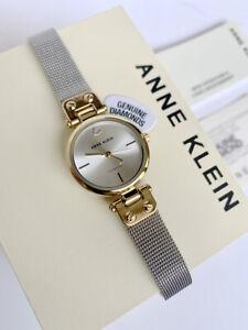 Anne Klein Watch * 3003SVTT Diamond 2 Tone Gold & Silver Mesh Bracelet Women