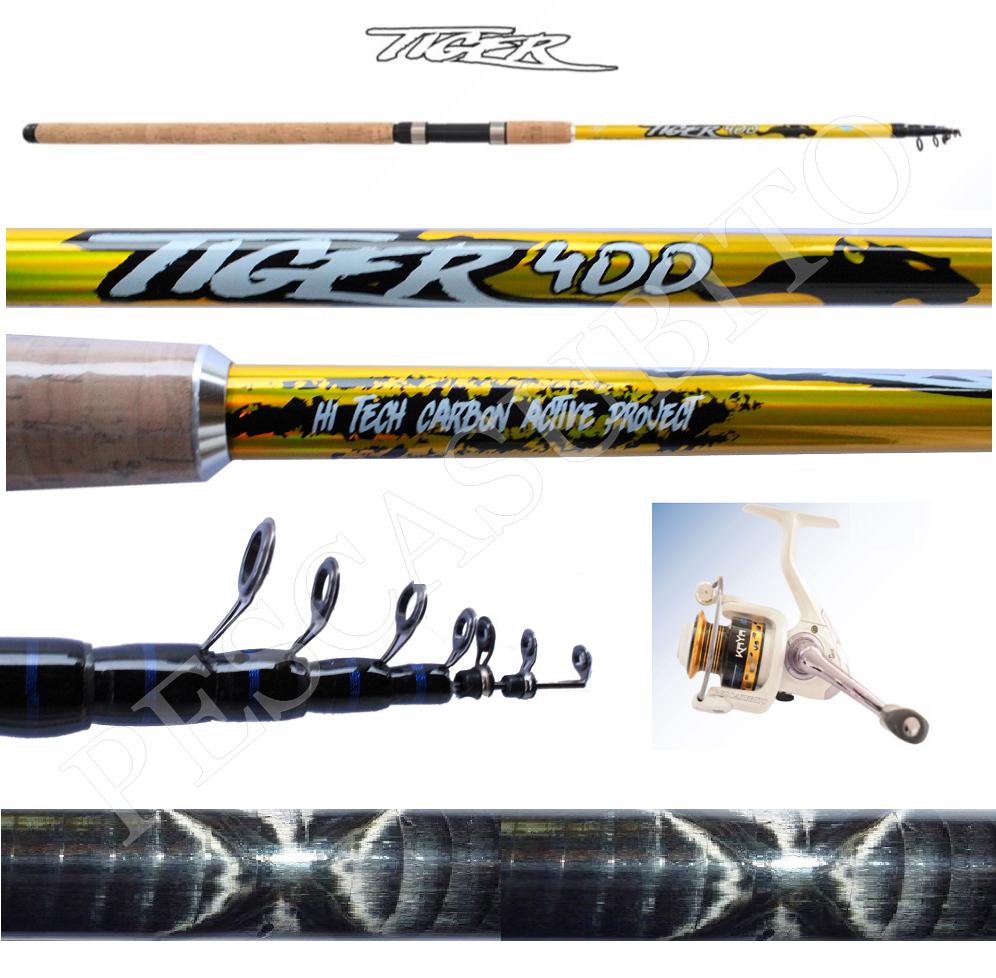 Kit Canna Pesca Tiger 4m 90g + Mulinello Kaya Carbonio Bombarda Inglese Mare