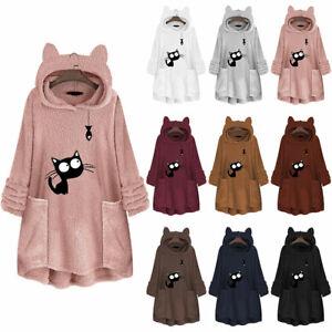 Women-Fleece-Hooded-Long-Sweater-Pullover-Hoodie-Jumper-Outwear-Cat-Fish-Floral