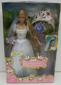 2005-Barbie-Rapunzel-Wedding-Bride-w-Light-Up-Crown-amp-Brush-MIB-NRFB