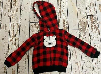 Baby Toddler Boys Fleece Hoodie Zip Buffalo Check Jacket Red Black 12 Months NWT