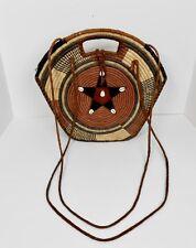 Vintage 70's Ethnic Handmade Woven Straw & Leather Peasant Shoulder Bag Purse