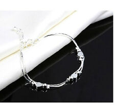 925 STERLING SILVER PLATED DOUBLE STRAND LOVE HEART BALL BEAD BRACELET 7.5''