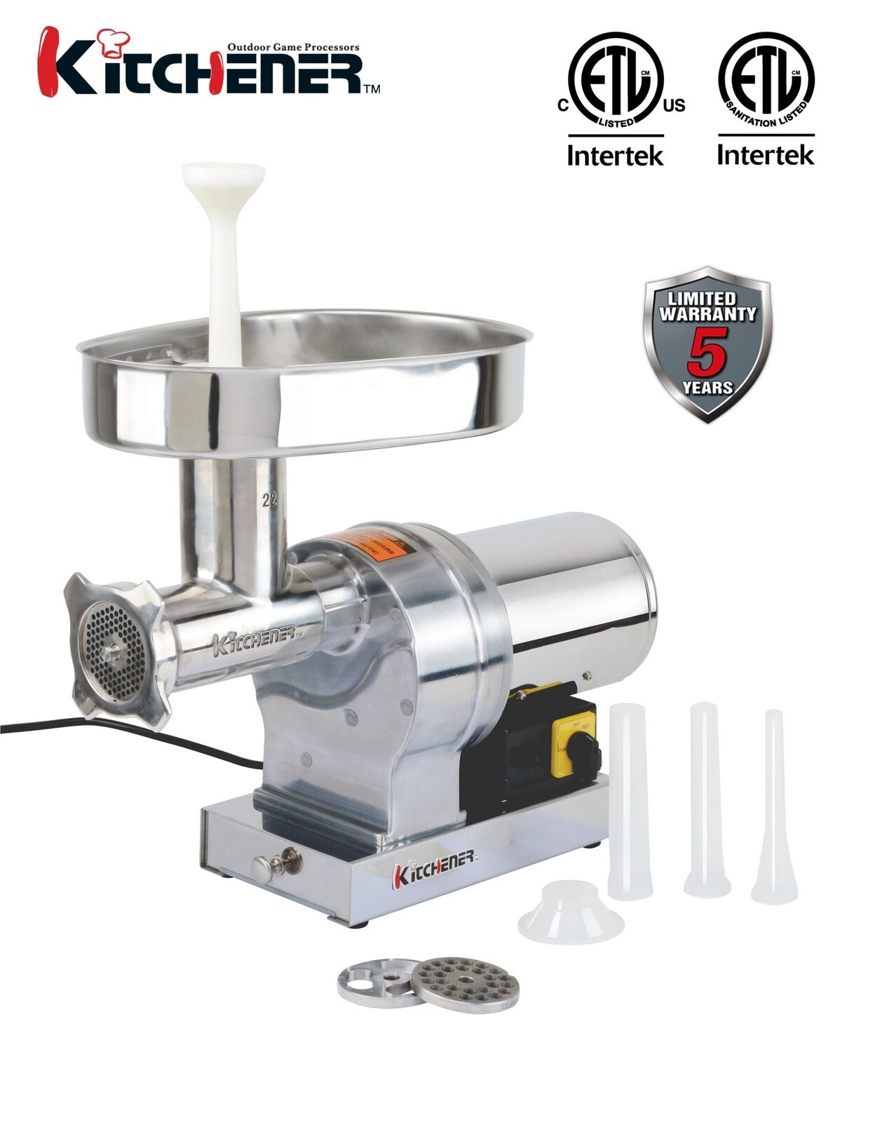 Kitchener  22 Commercial Grade Electric Meat Grinder 1 HP 840-lbs  Hr