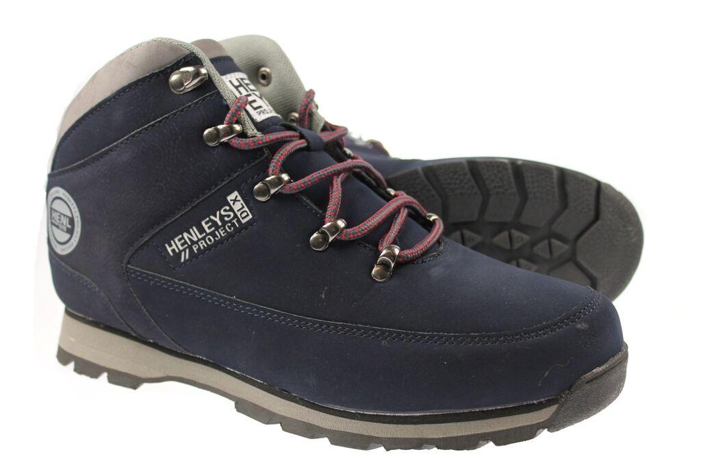 Henleys Uomo Navy Blu Taglia Hiker Nabuk Stivali UK Taglia Blu 7 8 9 10 11 12 5f2cf9