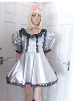 Unisex Short Adult Baby Pvc Dress ,fancy Dress/sissy/4 Row