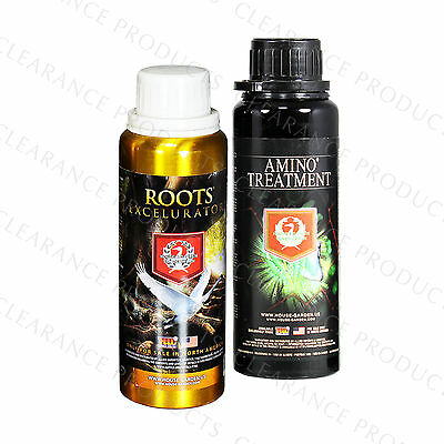 House & Garden Roots Excelurator + Amino Treatment 250ml Each Hydroponics Bundle