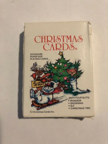 Christmas Cards Playing Cards Reindeer Snowman Elf and Christmas Tree