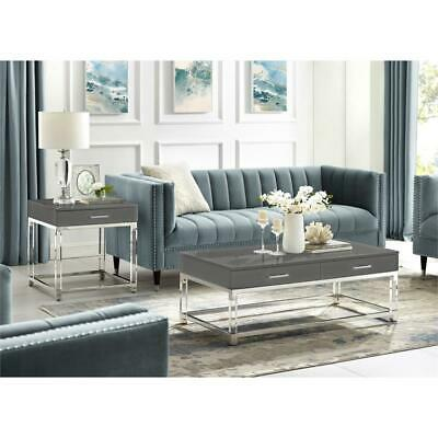 Briar High Gloss Coffee Table With Acrylic Legetal Base Dark Grey Chrome Ebay