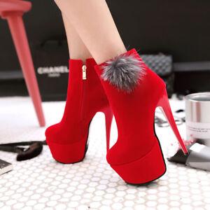 Elissara Women/'s Zip High Heel Stilettos Platform Ankle Boots Shoes US 3-10.5