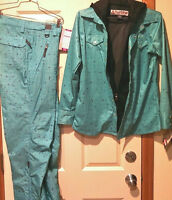 Turbine Women's Snow Pants & Flannel Wpb Shirt Green Matched Set M Polyester