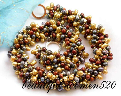 """z2033 6row 17/"""" champagne coffee black pearl necklace"""