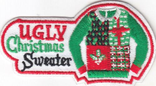 "/""UGLY CHRISTMAS SWEATER/"" PARTY IRON ON EMBROIDERED PATCH HOLIDAY XMAS"