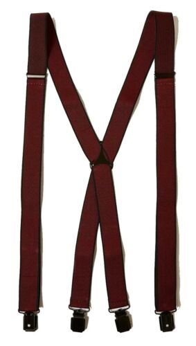 MENS BURGUNDY BRACES ANTIQUED SILVER METALWARE