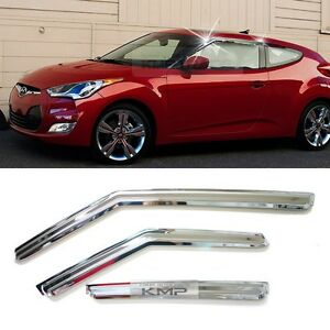 Chrome-Window-Sun-Vent-Visor-Rain-Guards-3P-K737-For-HYUNDAI-2011-2017-Veloster