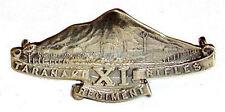 WW1 11TH NEW ZEALAND TARANAKI RIFLES BADGE SOLID SILVER