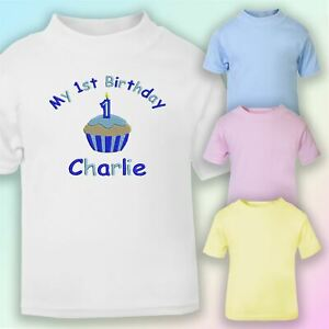 Tremendous My 1St Birthday Cake Boy Embroidered Baby T Shirt Gift Personalised Birthday Cards Petedlily Jamesorg