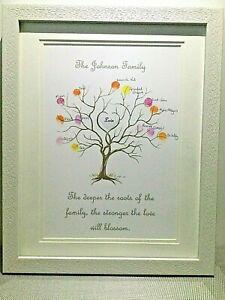 Family Tree Fingerprint Personalised Print -Bespoke Gift Keepsake with ink pad/s