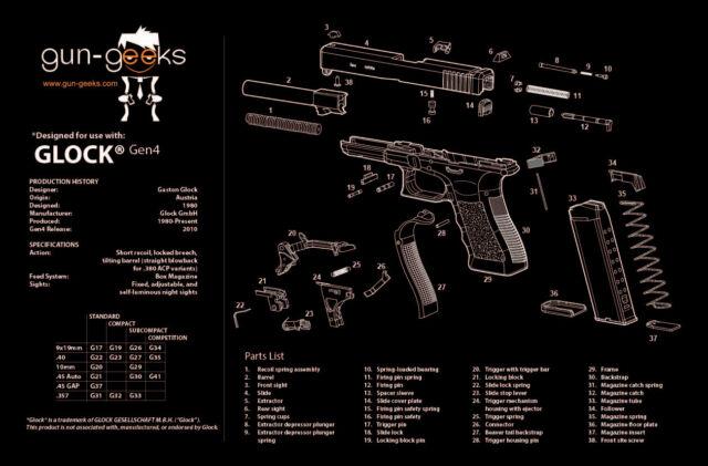 Glock 17 19 21 22 23 27 Handgun Tekmat Gun Cleaning Mat Parts Schematic 17