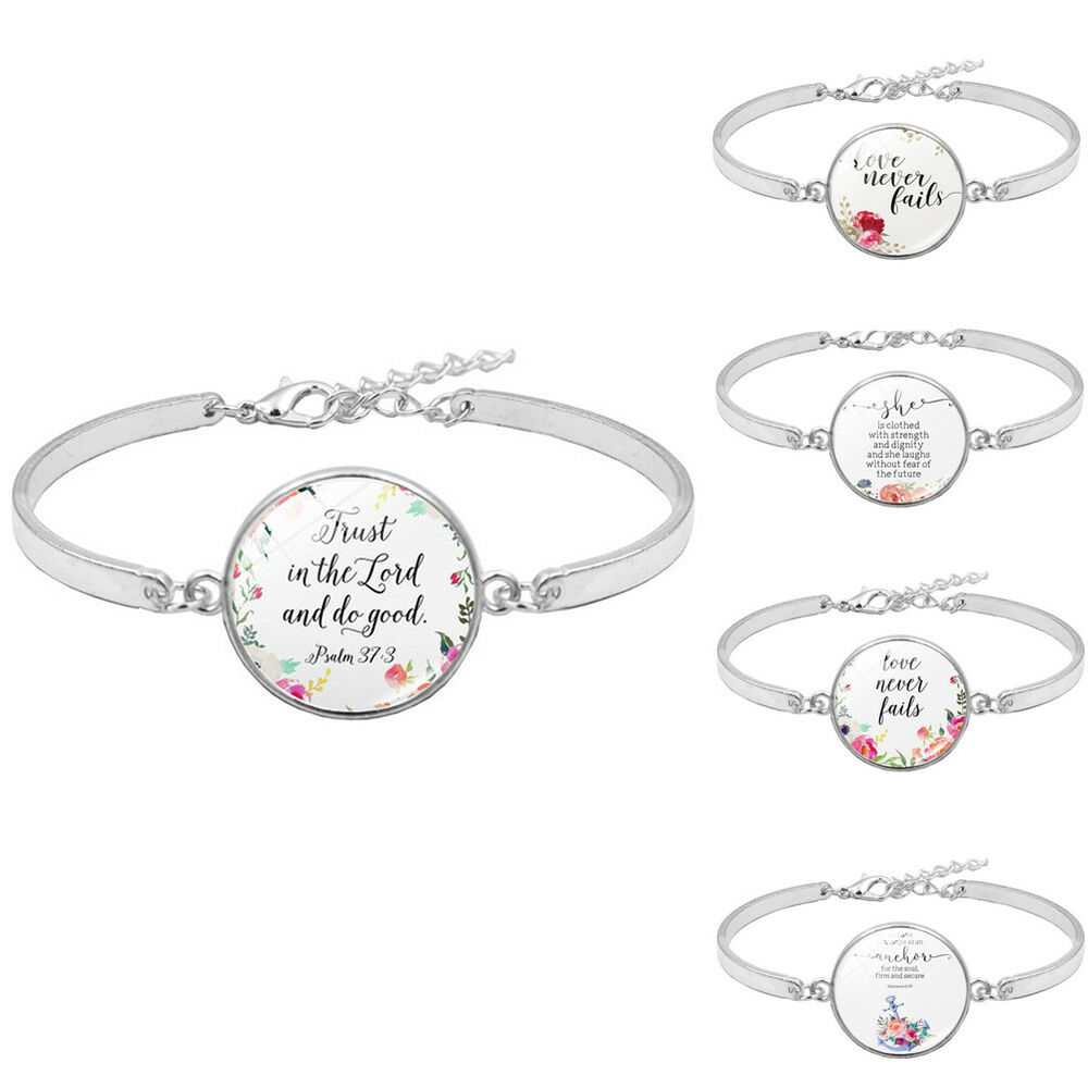 Trendy Women Bible Verses Psalm Glass Pendant Open Bracelet Bangle Jewelry Well Bracelets