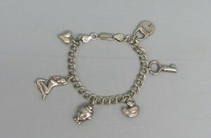 Image Is Loading Sterling Silver Charm Bracelet W Charms Woman