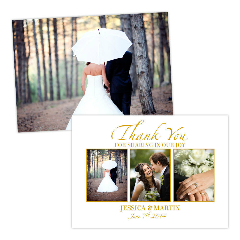 Personalised wedding thank you cards Weiß Gold GLOSS PHOTO FREE ENVELOPES & DRA