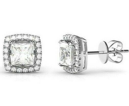 3.44 CT Square Halo Stud Earrings 14k White Gold Plated with Swarovski Crystals