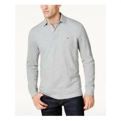 Tommy Hilfiger Men/'s Long Sleeve Polo Rugby Shirt Blue Gray Gray//Navy Stripe