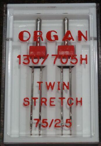 Tamaño 75//2.5 de órgano Máquina de coser Agujas Gemelas trabajar en Brother Singer