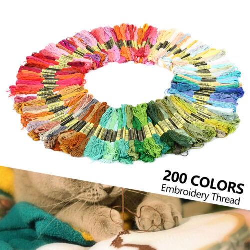 200 Docken Sticktwist Stickgarn Baumwolle 8m 6-fädig Multicolor Nähgarn Set DE