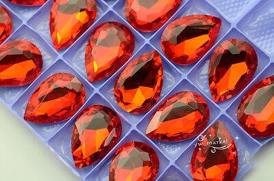 60 PCS 20mm x 30mm Glass Color Tear Drop Faceted Glass Jewels