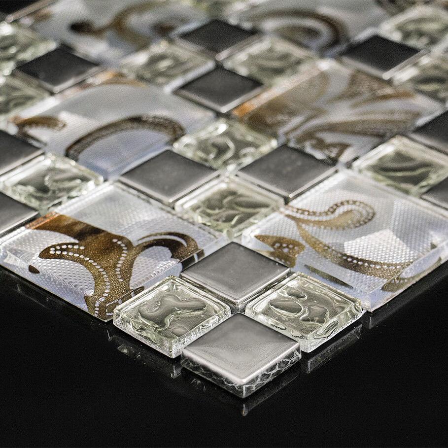 Glasfliese Mosaik Spiegel Mosaikfiese Fliesen Diamanten Facettenschliff PLUTOS