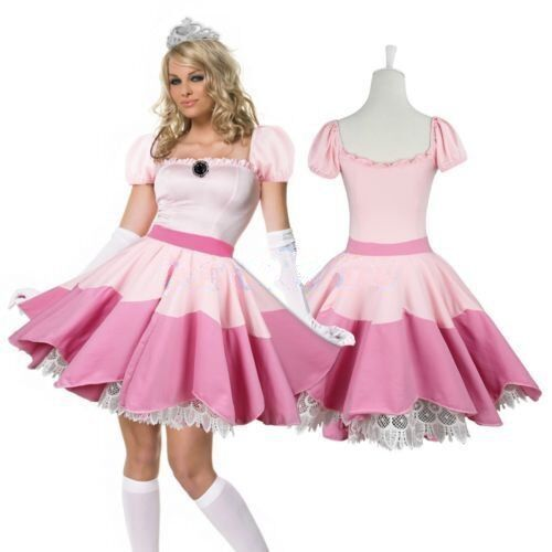 Women Princess Peach Costume Fancy Dress Cosplay Party Gaming Parade Hot Pink