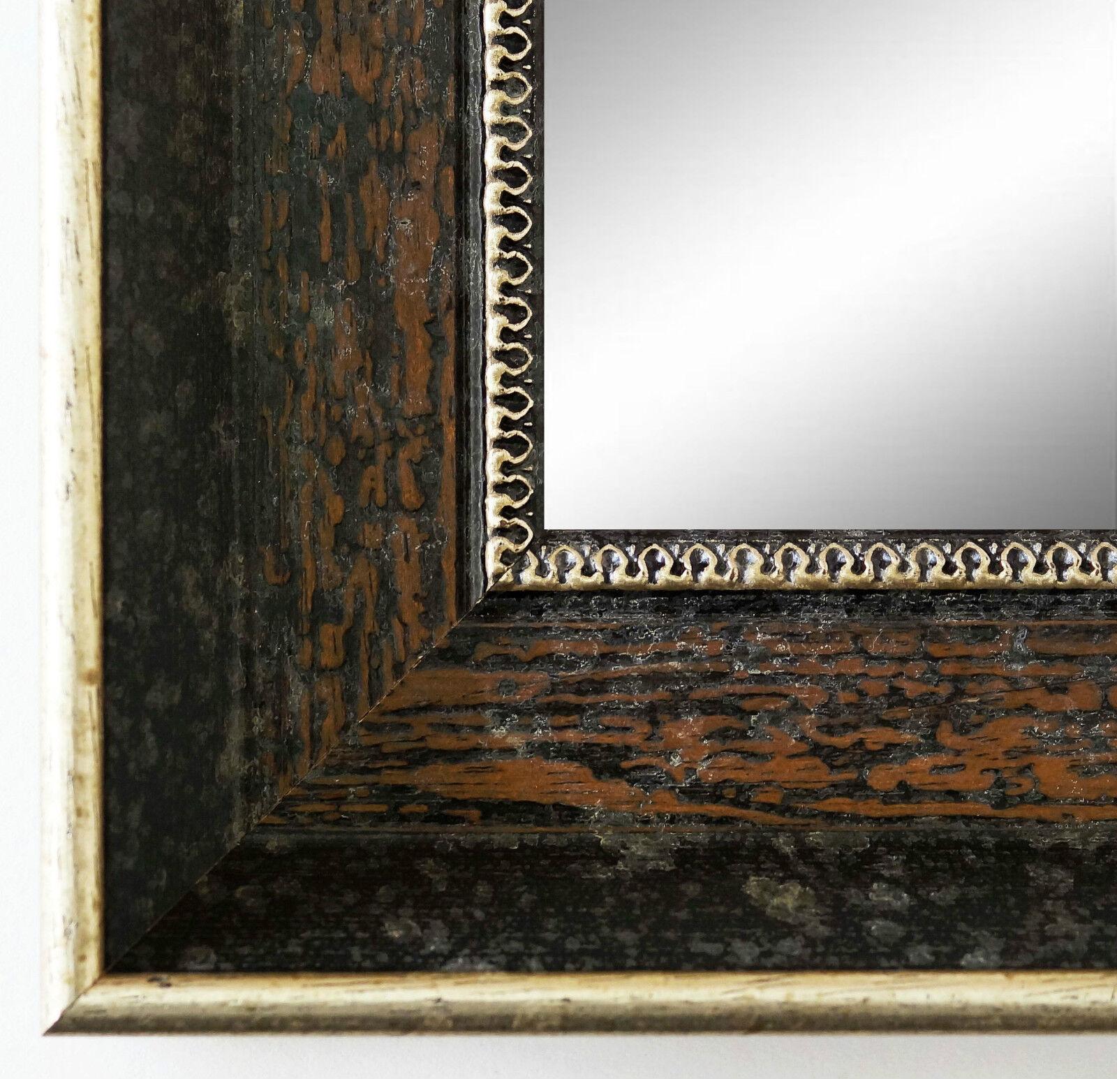 Badspiegel dunkel Braun Silber Monza Antik Barock 6,7 - alle Größen
