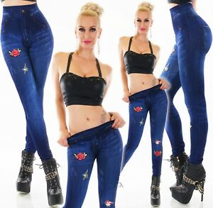 Women-039-s-High-Waist-Legging-Flower-amp-birds-Elastic-waistband-Casual-Leggings-UK