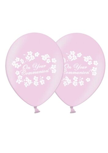 """On Your Communion 12/"""" Printed Latex Balloons Pink 6 ct By Party Decor"""