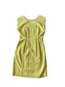GORMAN Women's Yellow Broidery Anglaise Sleeveless Fitted Waist Dress Sz 8